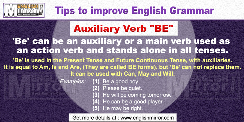 Use of Auxiliary Verb 'Be' in English Grammar