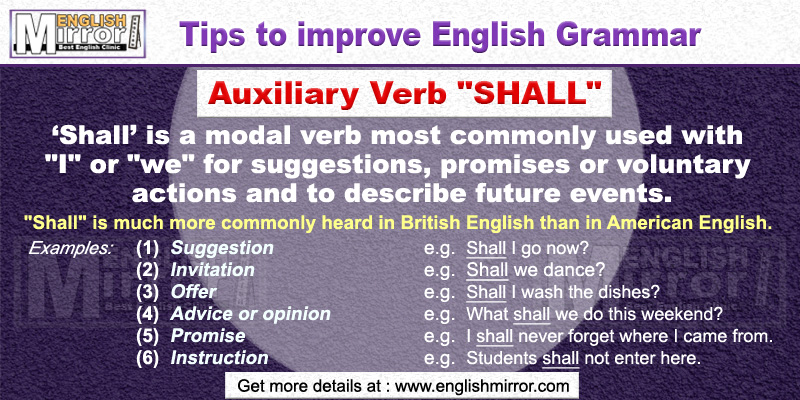 Use of Auxiliary Verb 'Shall' in English Grammar
