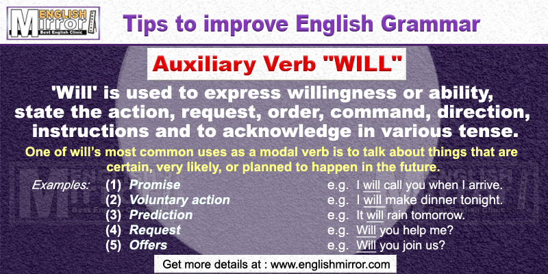 Use of Auxiliary Verb 'Will' in English Grammar
