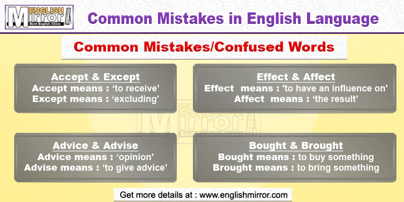 Common mistakes in English language