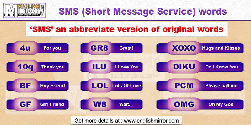 SMS words in English